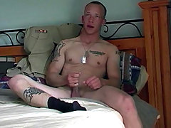 Cute blond college stud enjoying his cock in solo action
