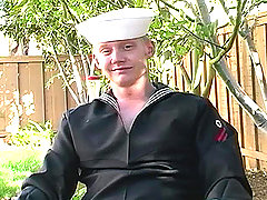 Sexy sailor pleasuring himself and cum all over in here