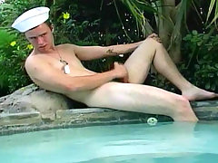 Hot Sailor Twink jerking hit hard cock off in this video