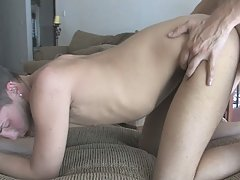 A twink college student gets a hard dick