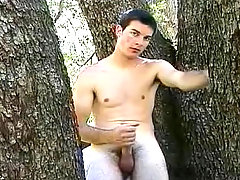 Sexy twink playing with own cock high up in a tree in here !