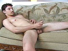 Dark hair guy strokes his dick until the juice comes out!