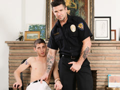 Sam is in trouble with the law and this time Officer Ducati is going to make him pay his dues. Sam has been busted caning off in the storage room again and his assistant has ratted him out to cover his own ass. Officer Ducati grills him with questions til